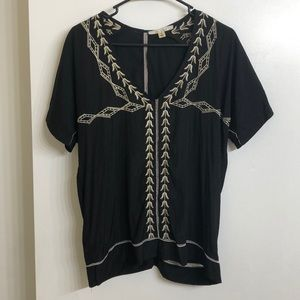 Black and cream tunic style blouse